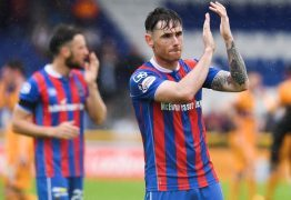 Greg Tansey at the end of the game which saw Inverness relegated,despite a 3-2 win over Motherwell. (Picture: SNS Group/Paul Devlin)