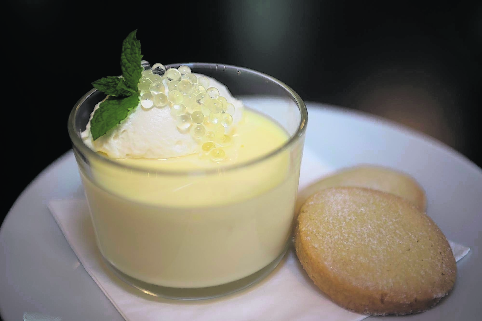 YL Restaurant review of The Bank Café and Restaurant in Huntly. Photo of the lemon posset desert. Photo by Michael Traill 9 South Road Rhynie Huntly AB54 4GA Contact numbers Mob 07739 38 4792 Home 01464 861425