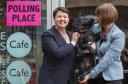 Scottish Conservative leader Ruth Davidson(L) and partner Jen Wilson alongside dog also called Wilson in Edinburgh