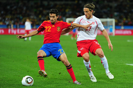 Reto Ziegler (right) in action for Switzerland