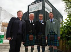 l-r Robert Carrick CMM Architects, Ronald Gordon, chairman, and Scott and Ronald Gordon joint managing directors, at the opening of Gordon Timber's new HQ in Nairn