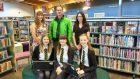 Back row: Jo Robinson, Visit Scotland, Jim Davis, Ace Adventure, Rachel Glennie, Moray Speyside Tourism. Front row: pupils Isla Matthews, Abby Watson, Abby Cant.