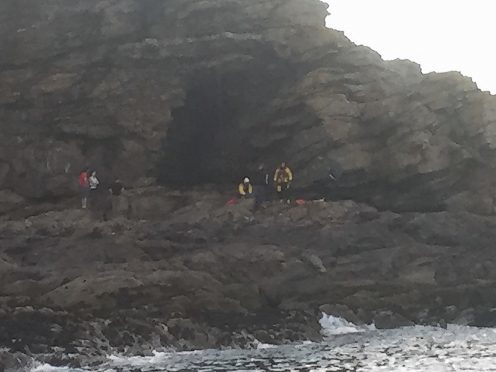 The rescue at cliffs near Newtonhill