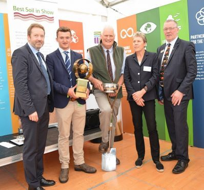 Professor Colin Campbell from the James Hutton Institute, Alistair Brunton, Roger Polson, Helen Browning from the Soil Association, and NFU Scotland president Andrew McCornick.