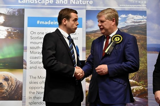 Douglas Ross (left) and Angus Robertson at the  Moray count