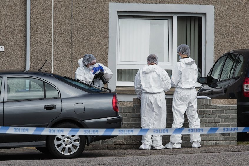 Police at the scene of the incident in Fraserburgh