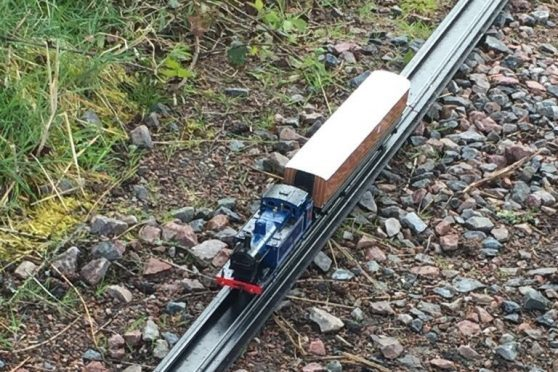 The train itself is a realistic model, while the track is made of plastic and is fully recyclable and comes in sections almost 10 feet long.