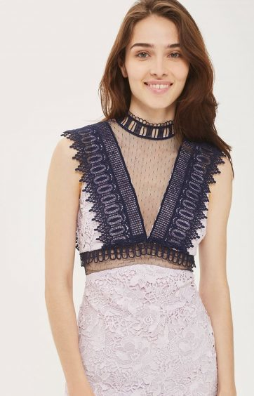 Topshop Funnel High Neck Lace Mini Dress, £100 (www.topshop.com)