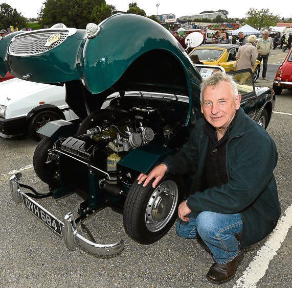 Graham Dow, Aberdeen, with his 1959 Austin Healy MK1 Sprite.
