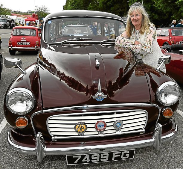 Brenda Gow, with her 1964 Morrice Traveller, 1000.