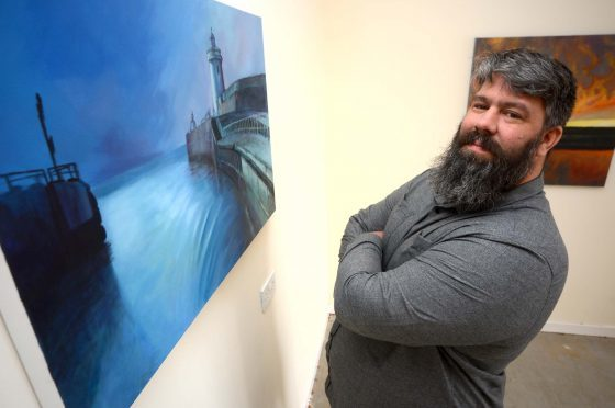 Daniel Fairbairn is running an exhibition of paintings all about Buckie Harbour.