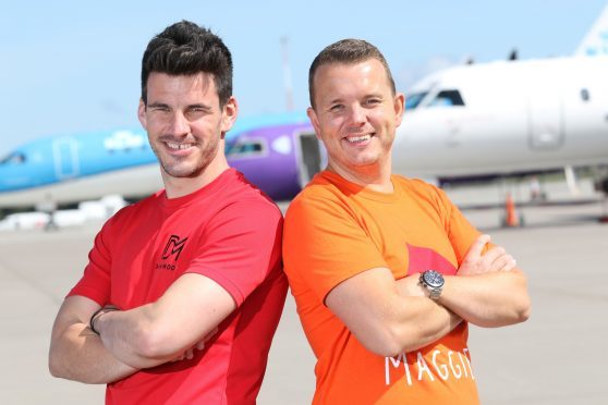 Fitness trainer Dan Moore, left, will be doing the warm-up for a midnight charity run at Inverness airport, organised by Andrew Benjamin, right, fundraising manager for Maggies Highland.