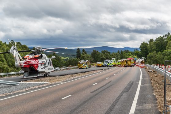 The scene of the accident on the A9 near Kincraig