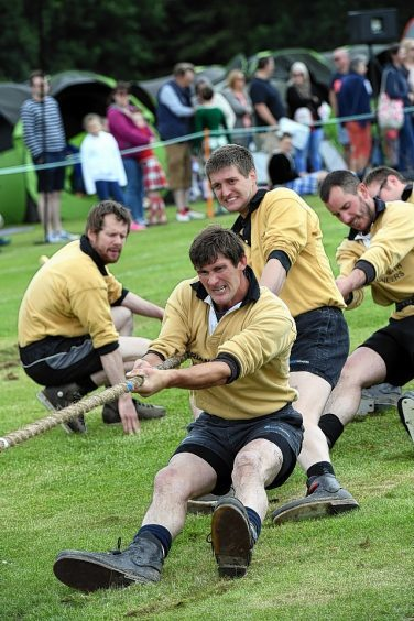 Tug-O-War - The Cornhill Mens Tug-O-War team in action at the games.    Picture by Kami Thomson