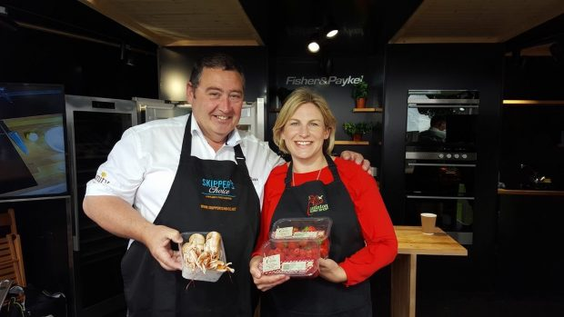 Jimmy Buchan with his famous Amity langoustine and Anna Mitchell from Castleton Farm Shop with her freshly picked raspberries.
