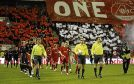 ABERDEEN V BAYERN MUNICH UEFA CUP TIE , PITTODRIE STADIUM , ABERDEEN ......     THE TEAMS ENTER THE FIELD OF PLAY PIC DEREK IRONSIDE / NEWSLINE SCOTLAND
