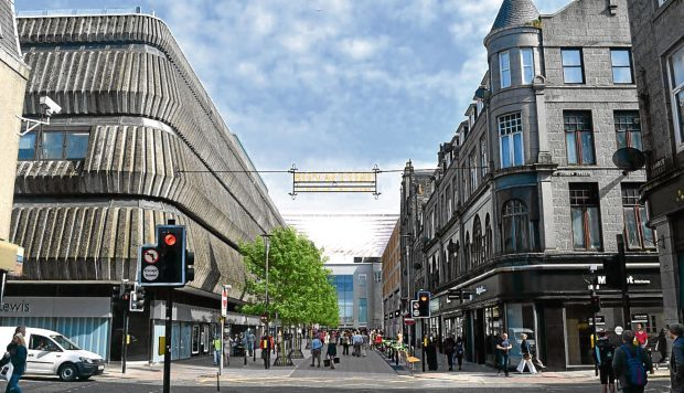 Artist impression of the Bon Accord Centre, showing a canopy and new sign.