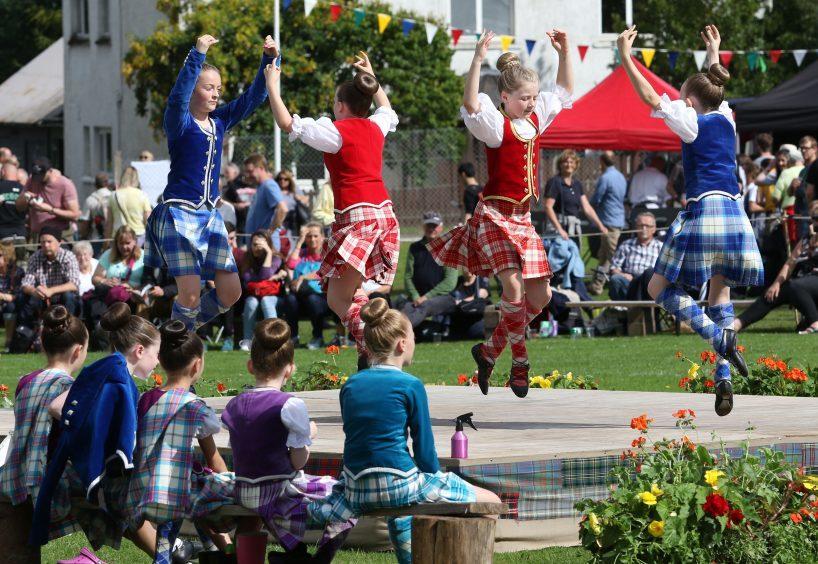 Highland dancers from the Elizabeth Fraser school of dancing in Inverness.