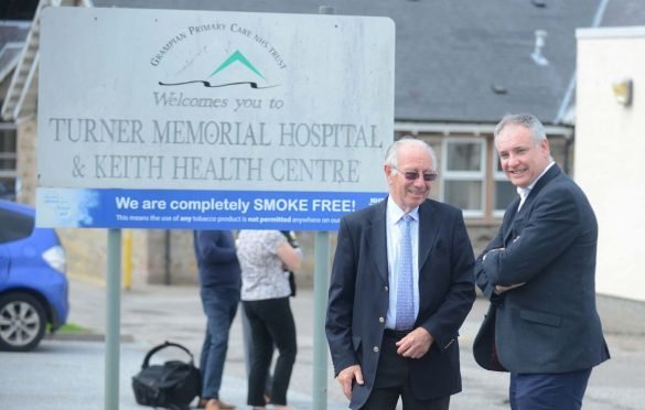 Leon Stelmach, chairman of Keith Health Centre's patient participation group, and Moray MSP Richard Lochhead want new facilities in the town.