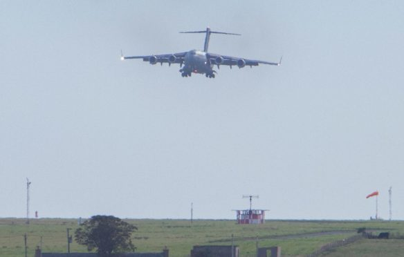 A shipment of enriched uranium leaves Wick bound for the USA via RAF Lossiemouth.