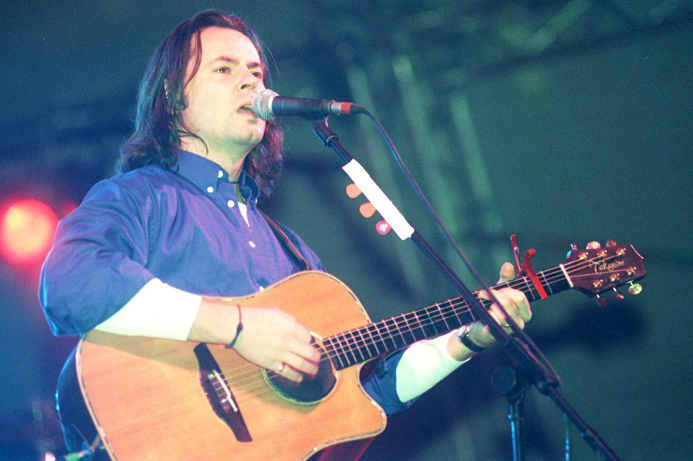 Runrig lead singer Bruce Guthro entertains the crowd, Highland Hogmanay at Northern Meeting Park, Inverness