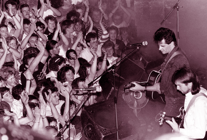 Runrig lead singer Donnie Munro and lead guitarist Malcolm Jones pictured at the Music Hall, Aberdeen, in October, 1988. The Gaelic rock band were taking part in the Aberdeen Alternative Festival and played to a full house