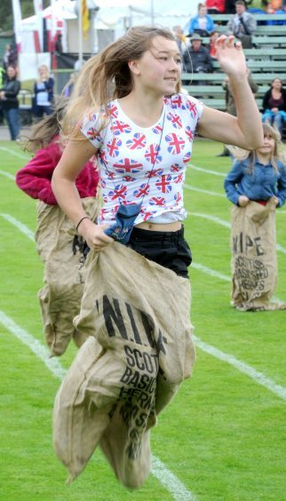 Bethany Bruce in the sack race in 2014