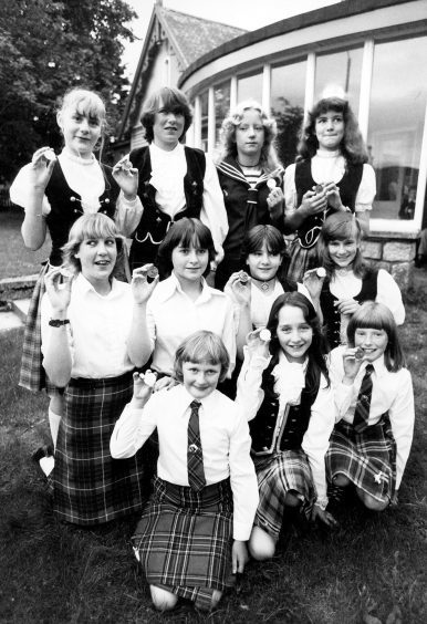 The Braemar Highland Dance Class with crowns to mark the Queen Mother's birthday in 1980.