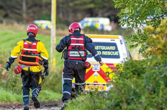 Emergency services at the scene where the man's 4x4 went into the Burn of Boyne River, near the A98 at Tillynaught, near Portsoy