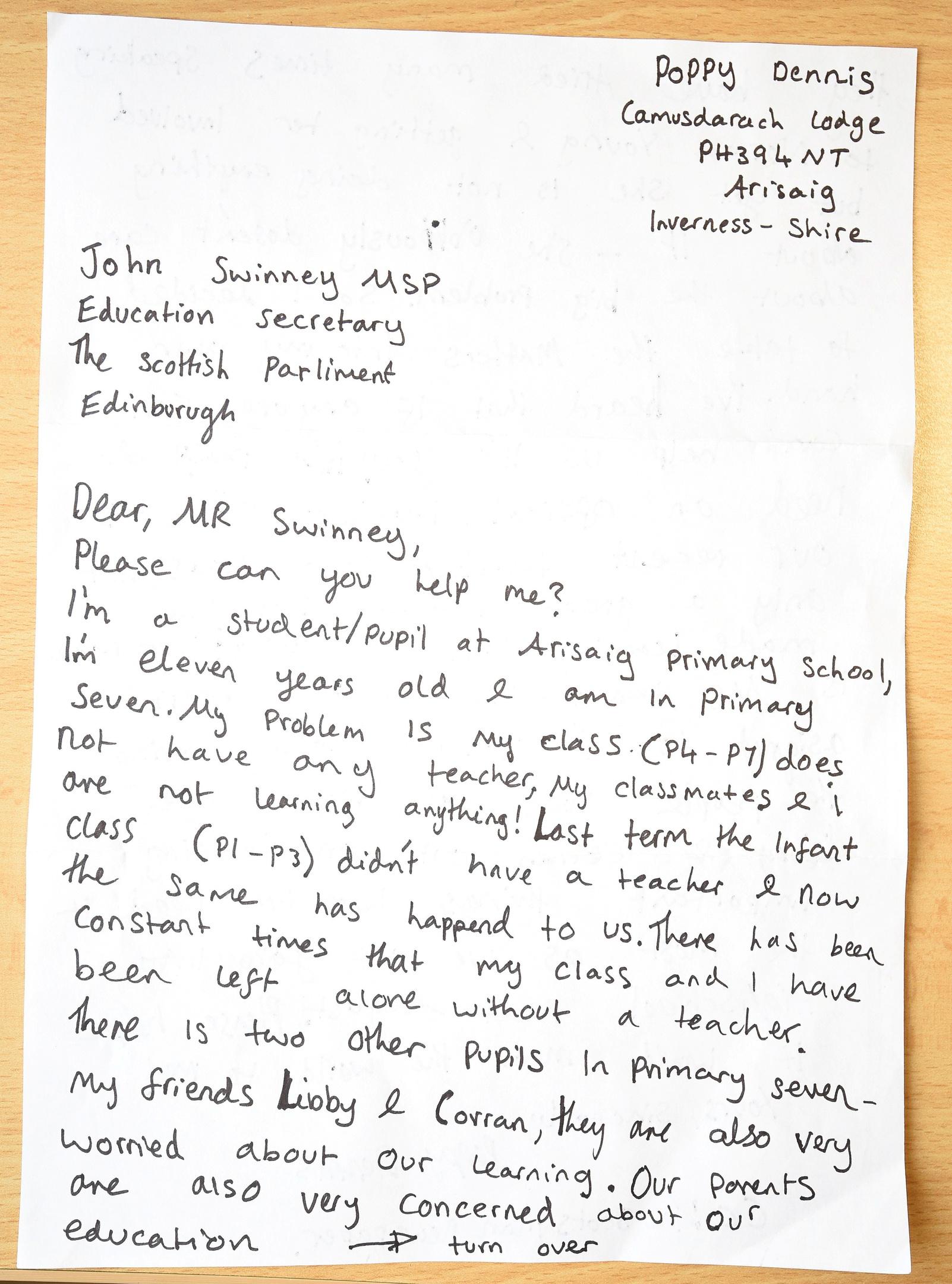 Dear Mr Swinney Please Can You Help Me School Girl Writes Letter