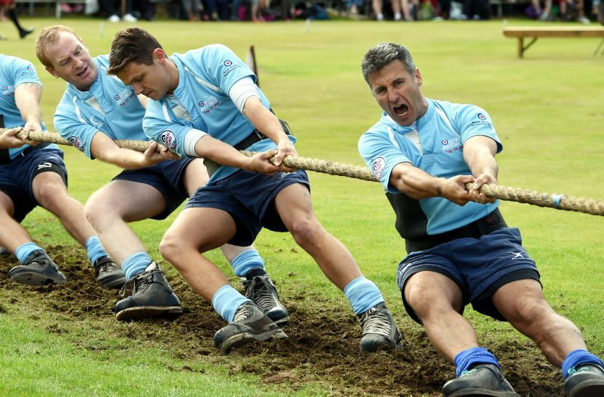 Braemar Games: In the picture are the Royal air Force, tug o war team in action.  Picture by Jim Irvine