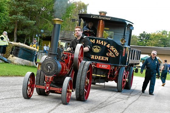 Craig Hall from Balmedie pulls a steam lorry with his 6in Burrell engine at the Steam@Alford event run by the Bon Accord Steam Engine Club at Grampian Transport Museum.   Picture by KEVIN EMSLIE