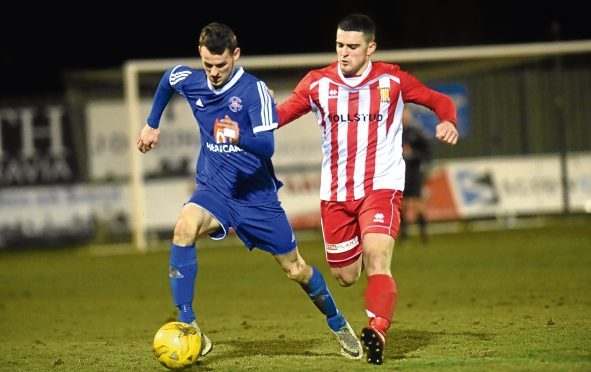 Lossie's Ryan Farquhar and Formartine's Scott Barbour.