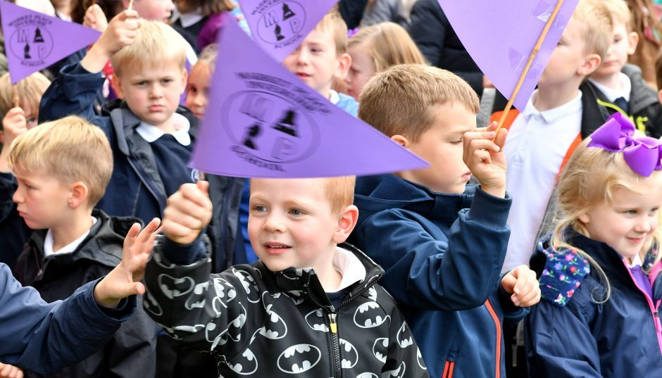 Afternoon ceremony to mark the closure of Market Place School, Inverurie, with pipers, singing in the Market Square and the final ring of the school bell.     Pictures and video by Kami Thomson