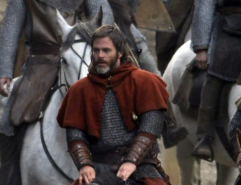Hollywood star Chris Pine films scenes of his big-budget Netflix film Outlaw King at Glasgow Cathedral.