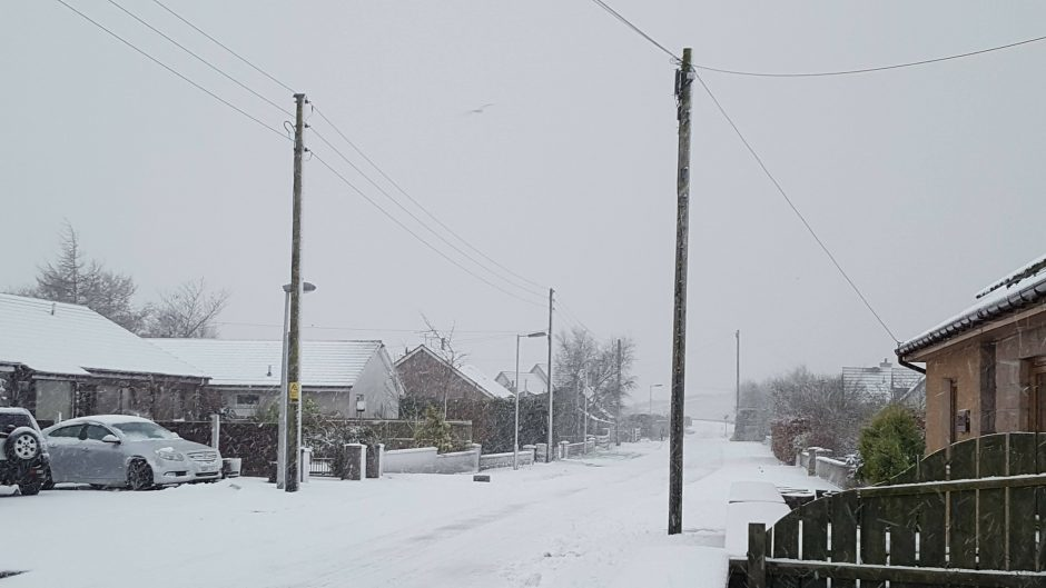 Residents woke up to a blanket of snow in St Katherines, near Fyvie