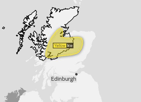 Met Office has issued a yellow warning for ice