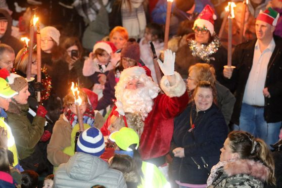 Inverness Christmas Lights switch on.