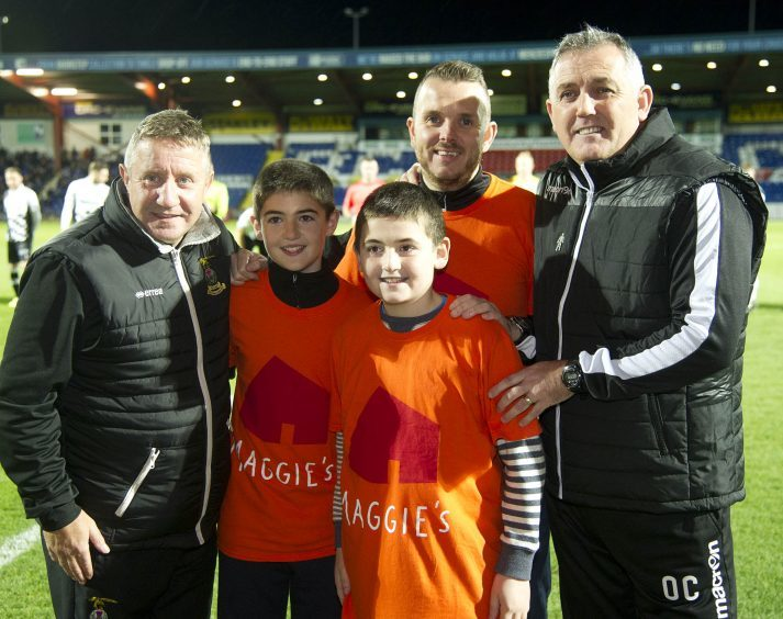 (L-R) John Robertson, ICT Manager,Alistair and Callum Tuckwood, Andrew Benjamin, Maggies Highland, Owen Coyle Ross County Manager.