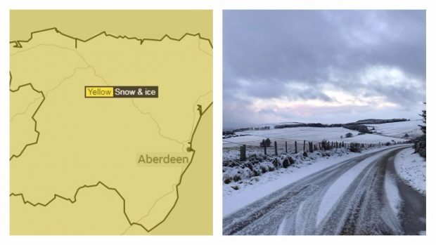 A map showing the yellow warning and right, a snowy scene near Cushnie