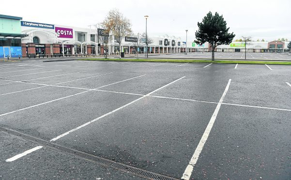 An almost deserted Inverness Business and Retail Park. Pic by Sandy McCook.