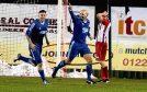 Paul McManus celebrates his goal. Pictures by Jim Irvine