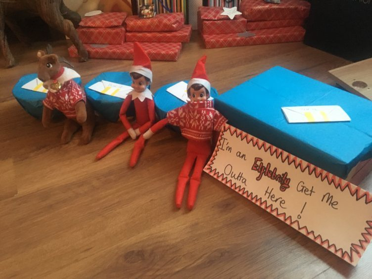'I'm an elf-lebrity get me outta here...' Mum Cara Murray said daughter Lyla was blindfolded and had to put her hand in the bowls and box to guess the things, They had so much fun.