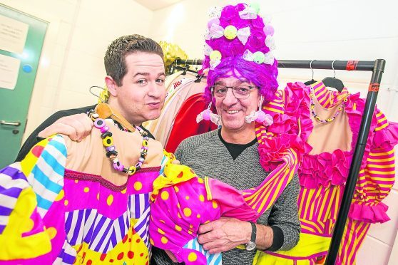 Steven Wren (Dame), with Ross Allan (Jingles the Jester) at Eden Court ahead of their performance in the theatre's Snow White panto.