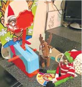 Aled Smiths elves Buddy and Rudie playing Splat. Sent in by mum Jennifer of Fraserburgh