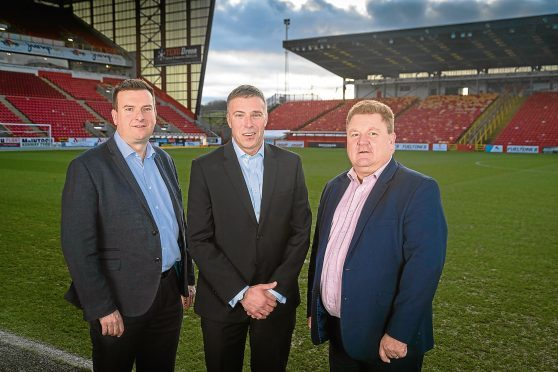 (L-R) David Trotter, Divisional Director, Scotland and NI for Sodexo Sports & Leisure, with Euan Stewart and Derek Coulter