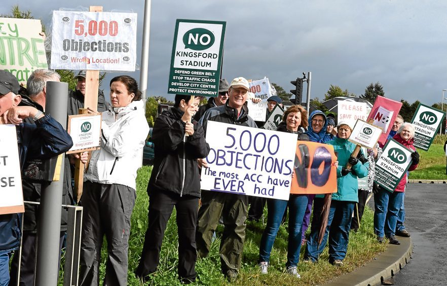The protest of The No Kingsford Stadium group at the site at Westhill. in the picture is