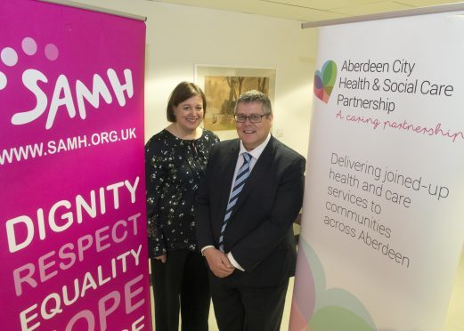 (L-R): Billy Watson, Chief Executive, SAMH, with Aberdeen City Councillor Sarah Duncan, Vice-Chairwoman of the Integrated Joint Board.