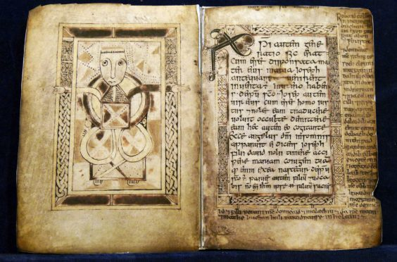 The Book of Deer - a gospel book written in Latin by the Aberdeenshire monks around the tenth century.