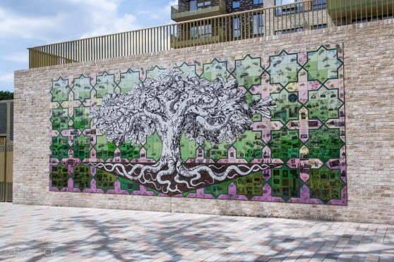Carrie Reichardt's ceramic mosaic Tree of Life in London's Acton Gardens.